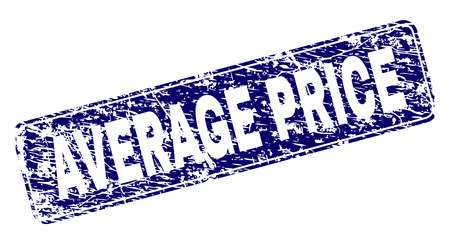 AVERAGE PRICE stamp seal print with distress style. Seal shape is a rounded rectangle with frame. Blue vector rubber print of AVERAGE PRICE caption with grunge style. Ilustração