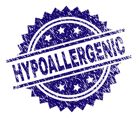 HYPOALLERGENIC stamp seal watermark with distress style. Blue vector rubber print of HYPOALLERGENIC tag with corroded texture.