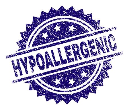HYPOALLERGENISCHES Stempelsiegel-Wasserzeichen mit Distress-Stil. Blauer Vektorgummidruck des HYPOALLERGENIC-Tags mit korrodierter Textur.