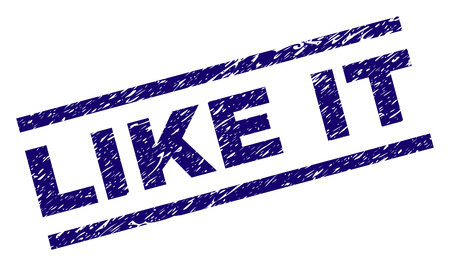 LIKE IT seal print with scratced style. Blue vector rubber print of LIKE IT text with unclean texture. Text caption is placed between parallel lines.
