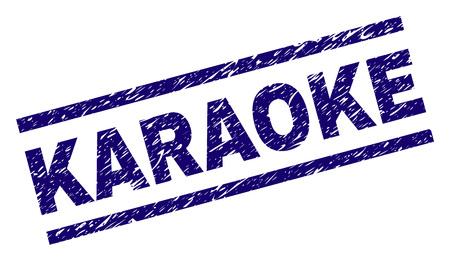 Stampa sigillo KARAOKE con stile graffiato. Stampa in gomma blu vettoriale del testo KARAOKE con trama sporca. La didascalia del testo è posizionata tra linee parallele.