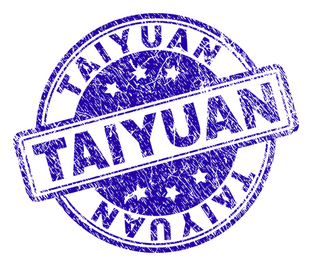 TAIYUAN stamp seal watermark with grunge texture. Designed with rounded rectangles and circles. Blue vector rubber print of TAIYUAN tag with grunge texture. Illustration
