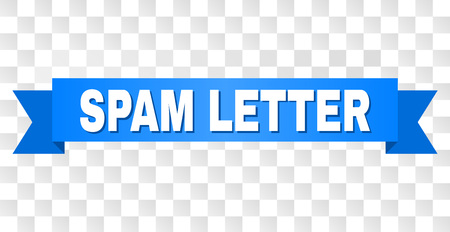 SPAM LETTER text on a ribbon. Designed with white title and blue tape. Vector banner with SPAM LETTER tag on a transparent background. Иллюстрация
