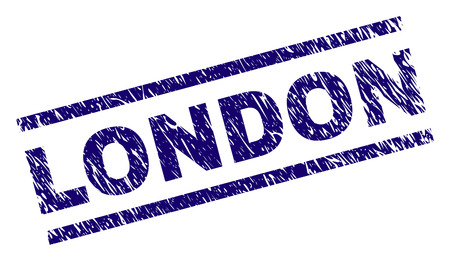 LONDON seal print with distress style. Blue vector rubber print of LONDON text with dirty texture. Text label is placed between parallel lines.