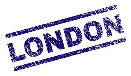 Stampa sigillo LONDON con stile angosciato. Stampa in gomma blu vettoriale del testo di Londra con trama sporca. L'etichetta di testo viene posizionata tra linee parallele.