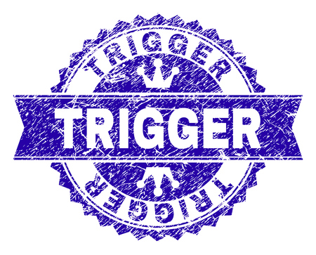 TRIGGER rosette stamp overlay with grunge texture. Designed with round rosette, ribbon and small crowns. Blue vector rubber watermark of TRIGGER caption with grunge texture.