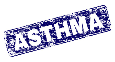 ASTHMA stamp seal print with grunge style. Seal shape is a rounded rectangle with frame. Blue vector rubber print of ASTHMA caption with corroded style.