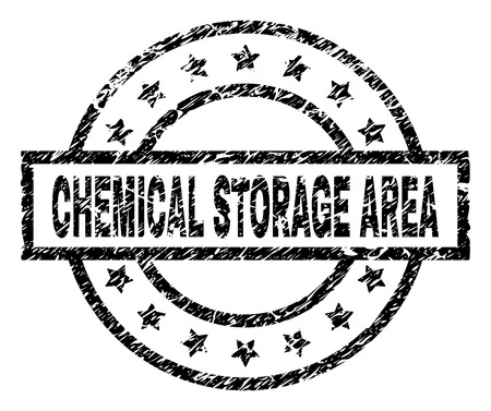 CHEMICAL STORAGE AREA stamp seal watermark with distress style. Designed with rectangle, circles and stars. Black vector rubber print of CHEMICAL STORAGE AREA label with grunge texture.