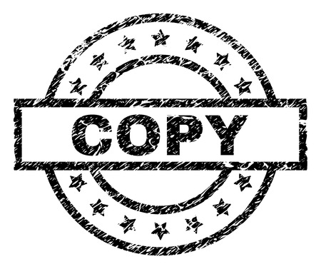 COPY stamp seal watermark with distress style. Designed with rectangle, circles and stars. Black vector rubber print of COPY label with corroded texture.