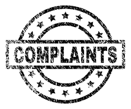 COMPLAINTS stamp seal watermark with distress style. Designed with rectangle, circles and stars. Black vector rubber print of COMPLAINTS tag with dirty texture. Illustration