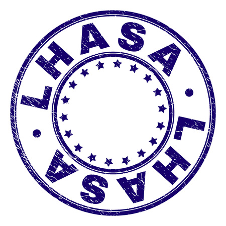 LHASA stamp seal watermark with grunge texture. Designed with circles and stars. Blue vector rubber print of LHASA tag with grunge texture. Иллюстрация