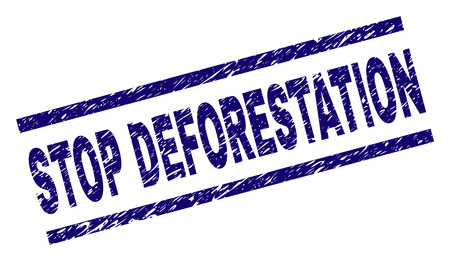 STOP DEFORESTATION seal print with distress style. Blue vector rubber print of STOP DEFORESTATION caption with dirty texture. Text title is placed between parallel lines.