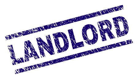 LANDLORD-Siegeldruck mit Scratch-Style. Blauer Vektorgummidruck von WIRTSCHAFTStext mit schmutziger Textur. Der Texttitel wird zwischen parallelen Linien platziert.