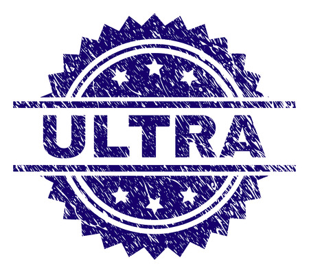 ULTRA stamp seal watermark with distress style. Blue vector rubber print of ULTRA label with scratched texture.
