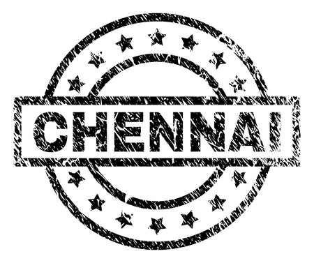CHENNAI stamp seal watermark with distress style. Designed with rectangle, circles and stars. Black vector rubber print of CHENNAI label with unclean texture.