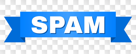 SPAM text on a ribbon. Designed with white caption and blue tape. Vector banner with SPAM tag on a transparent background.