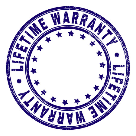 LIFETIME WARRANTY stamp seal watermark with distress texture. Designed with round shapes and stars. Blue vector rubber print of LIFETIME WARRANTY title with dust texture.