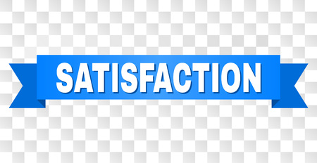 SATISFACTION text on a ribbon. Designed with white caption and blue stripe. Vector banner with SATISFACTION tag on a transparent background.