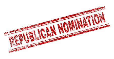 REPUBLICAN NOMINATION seal imprint with grunge texture. Red vector rubber print of REPUBLICAN NOMINATION caption with grunge texture. Text caption is placed between double parallel lines.