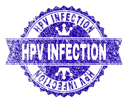 HPV INFECTION rosette stamp watermark with grunge style. Designed with round rosette, ribbon and small crowns. Blue vector rubber watermark of HPV INFECTION label with corroded style.
