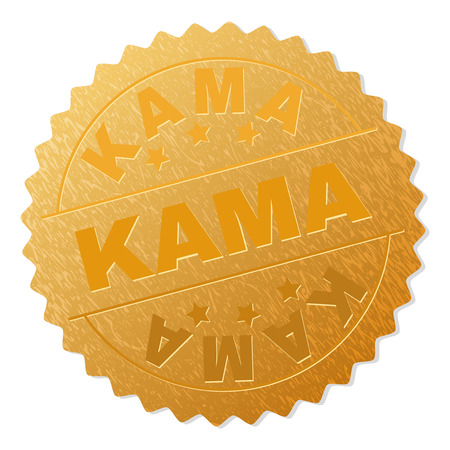 KAMA gold stamp seal. Vector gold award with KAMA text. Text labels are placed between parallel lines and on circle. Golden surface has metallic effect.