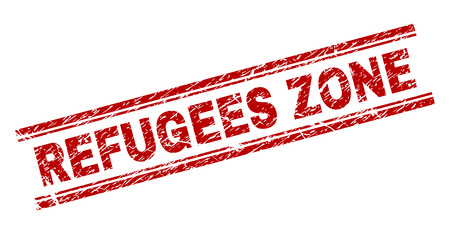 REFUGEES ZONE seal imprint with distress texture. Red vector rubber print of REFUGEES ZONE text with scratched texture. Text title is placed between double parallel lines. Illustration