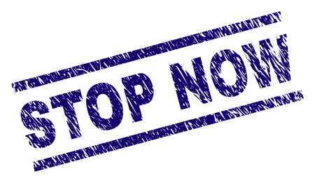 STOP NOW seal print with distress style. Blue vector rubber print of STOP NOW text with dirty texture. Text caption is placed between parallel lines.