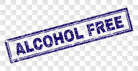 ALCOHOL FREE stamp seal print with rubber print style and double framed rectangle shape. Stamp is placed on a transparent background. Illustration