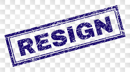 RESIGN stamp seal watermark with rubber print style and double framed rectangle shape. Stamp is placed on a transparent background. Blue vector rubber print of RESIGN title with retro texture. Illustration
