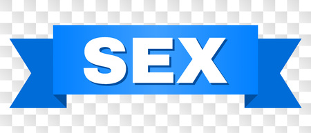 SEX text on a ribbon. Designed with white caption and blue stripe. Vector banner with SEX tag on a transparent background.