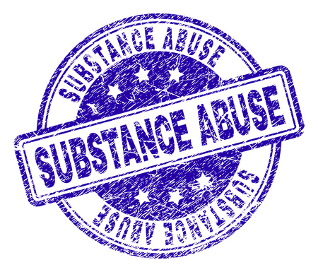 SUBSTANCE ABUSE stamp seal imprint with grunge texture. Designed with rounded rectangles and circles. Blue vector rubber print of SUBSTANCE ABUSE title with unclean texture.