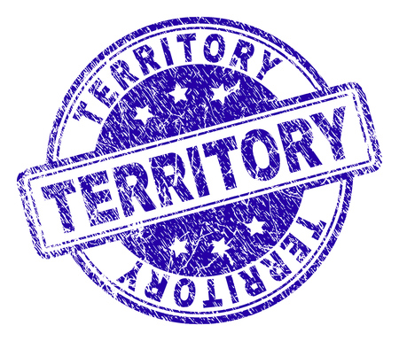TERRITORY stamp seal imprint with grunge texture. Designed with rounded rectangles and circles. Blue vector rubber print of TERRITORY text with dust texture. 일러스트
