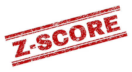 Z-SCORE seal print with grunge texture. Red vector rubber print of Z-SCORE text with corroded texture. Text label is placed between double parallel lines. Illusztráció