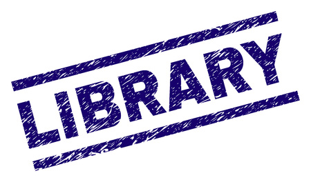 LIBRARY seal print with grunge style. Blue vector rubber print of LIBRARY title with scratched texture. Text caption is placed between parallel lines.