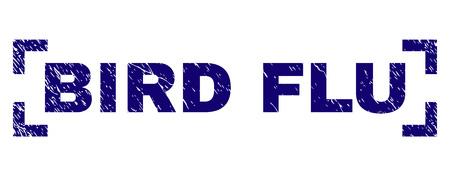 BIRD FLU caption seal print with corroded texture. Text caption is placed inside corners. Blue vector rubber print of BIRD FLU with grunge texture. Illusztráció