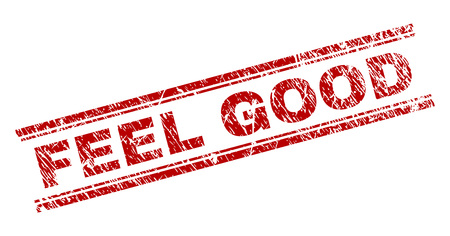 FEEL GOOD seal print with distress texture. Red vector rubber print of FEEL GOOD caption with grunge texture. Text caption is placed between double parallel lines. Standard-Bild - 114534933