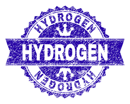 HYDROGEN rosette stamp imprint with distress style. Designed with round rosette, ribbon and small crowns. Blue vector rubber watermark of HYDROGEN title with dirty style.