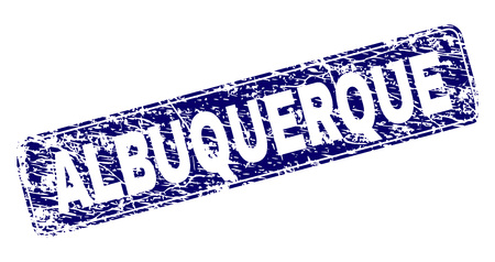 ALBUQUERQUE stamp seal print with distress style. Seal shape is a rounded rectangle with frame. Blue vector rubber print of ALBUQUERQUE tag with dust style.