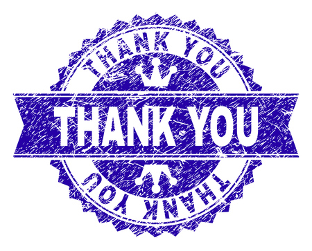 THANK YOU rosette seal watermark with grunge texture. Designed with round rosette, ribbon and small crowns. Blue vector rubber watermark of THANK YOU caption with retro texture.