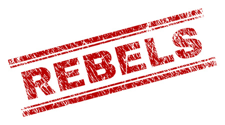 REBELS seal print with grunge effect. Red vector rubber print of REBELS text with retro texture. Text label is placed between double parallel lines.