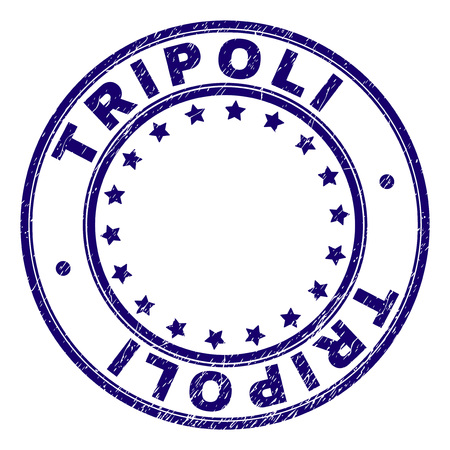 TRIPOLI stamp seal imprint with grunge texture. Designed with circles and stars. Blue vector rubber print of TRIPOLI text with grunge texture.