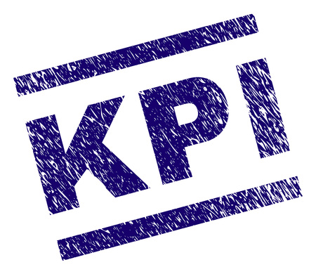 KPI seal print with scratced style. Blue vector rubber print of KPI text with scratched texture. Text tag is placed between parallel lines.