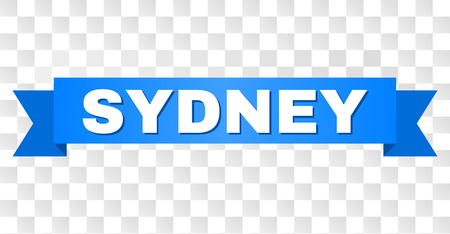 SYDNEY text on a ribbon. Designed with white title and blue stripe. Vector banner with SYDNEY tag on a transparent background.