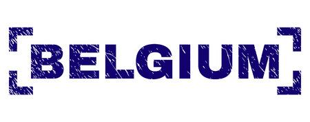 BELGIO didascalia sigillo stampa con texture grunge. La didascalia del testo è posizionata tra gli angoli. Stampa in gomma blu vettoriale del Belgio con texture polvere.