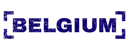 BELGIUM caption seal print with grunge texture. Text caption is placed between corners. Blue vector rubber print of BELGIUM with dust texture.