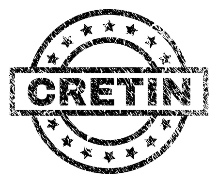 CRETIN stamp seal watermark with distress style. Designed with rectangle, circles and stars. Black vector rubber print of CRETIN text with corroded texture. Illustration