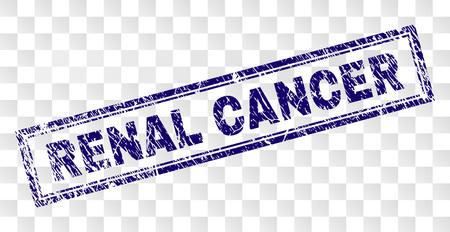 RENAL CANCER Stempelsiegeldruck mit Gummidruckstil und doppelt gerahmter Rechteckform. Stempel wird auf einem transparenten Hintergrund platziert. Blauer Vektorgummidruck des RENAL CANCER-Etiketts mit schmutziger Textur.