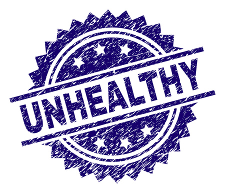 UNHEALTHY stamp seal watermark with distress style. Blue vector rubber print of UNHEALTHY caption with dirty texture.