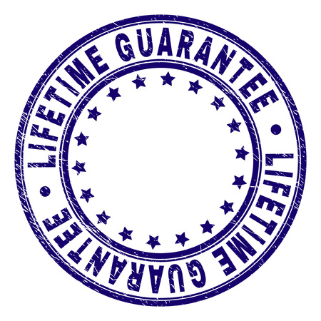LIFETIME GUARANTEE stamp seal watermark with grunge texture. Designed with circles and stars. Blue vector rubber print of LIFETIME GUARANTEE label with grunge texture.