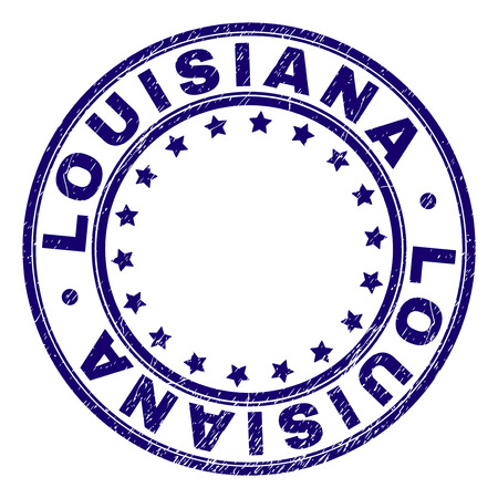 LOUISIANA stamp seal watermark with distress texture. Designed with round shapes and stars. Blue vector rubber print of LOUISIANA caption with grunge texture. Иллюстрация